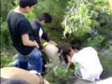 Group Of Schoolboys Having Fun In Jungle With Slutty Classmate